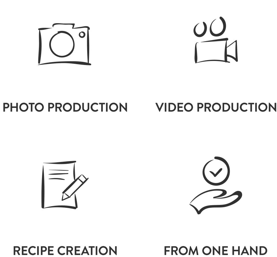 Photo production, Video produktion, Recipe creation, From one hand